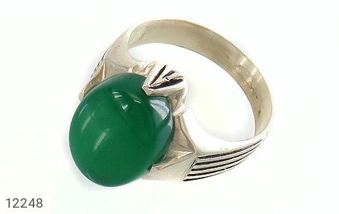 انگشتر عقیق سبز درشت چهارچنگ مردانه - عکس 1
