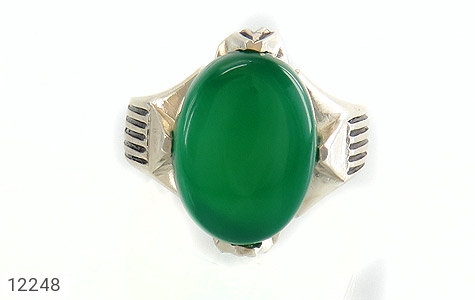 انگشتر عقیق سبز درشت چهارچنگ مردانه - تصویر 2