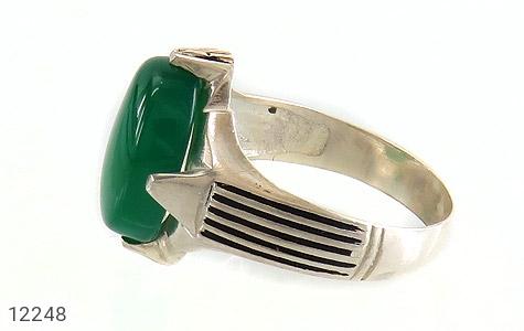 انگشتر عقیق سبز درشت چهارچنگ مردانه - تصویر 4