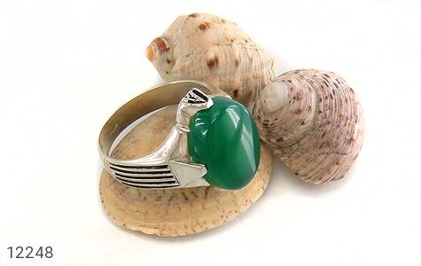 انگشتر عقیق سبز درشت چهارچنگ مردانه - تصویر 6