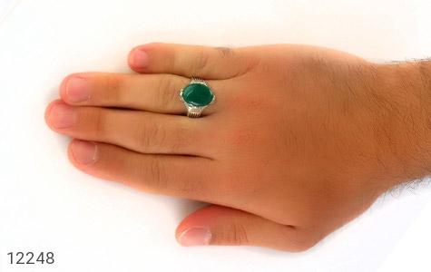 انگشتر عقیق سبز درشت چهارچنگ مردانه - تصویر 8