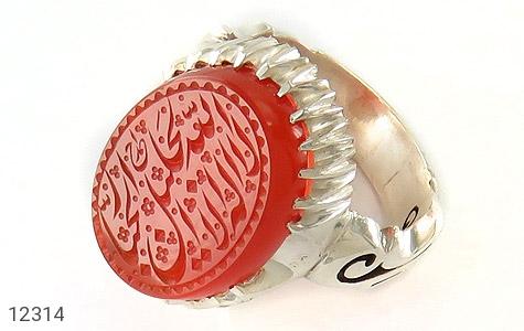 انگشتر عقیق یمن حکاکی لا اله الا الله الجلیل الجبار استاد احمد رکاب دست ساز - عکس 1