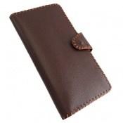 کیف چرم طبیعی تیره دست دوز اسپرت دکمه ای