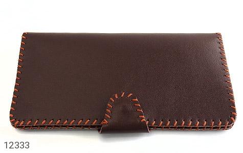 کیف چرم طبیعی تیره دست دوز اسپرت دکمه ای - تصویر 2