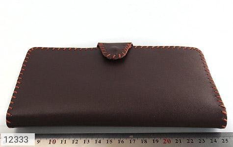 کیف چرم طبیعی تیره دست دوز اسپرت دکمه ای - تصویر 8