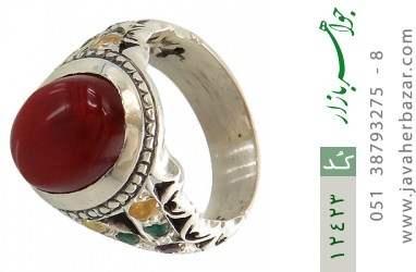 انگشتر یاقوت و زمرد و عقیق یمن رکاب دست ساز - کد 12423