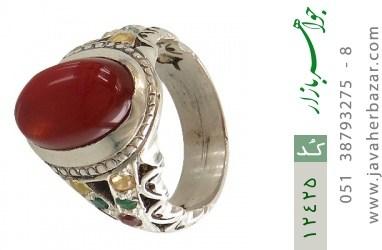 انگشتر زمرد و یاقوت و عقیق یمن رکاب دست ساز - کد 12425