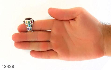 انگشتر آمتیست و توپاز و فیروزه و تورمالین و زمرد و زبرجد و یاقوت و سیترین و عقیق یمن رکاب دست ساز - تصویر 12