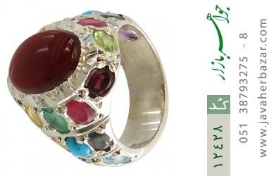 انگشتر آمتیست و توپاز و فیروزه و تورمالین و زمرد و زبرجد و یاقوت و سیترین و عقیق یمن رکاب دست ساز - کد 12428