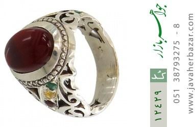 انگشتر زمرد و یاقوت و عقیق یمن رکاب دست ساز - کد 12429