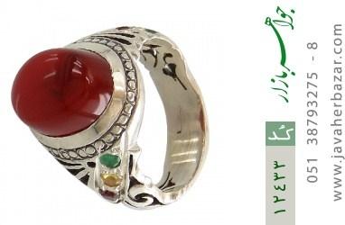 انگشتر یاقوت و زمرد و عقیق یمن رکاب دست ساز - کد 12433
