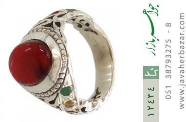 انگشتر یاقوت و زمرد و عقیق یمن رکاب دست ساز - کد 12434