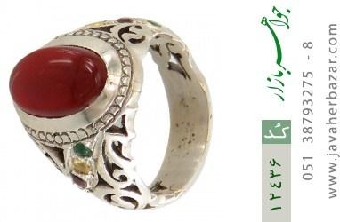 انگشتر زمرد و یاقوت و عقیق یمن رکاب دست ساز - کد 12436