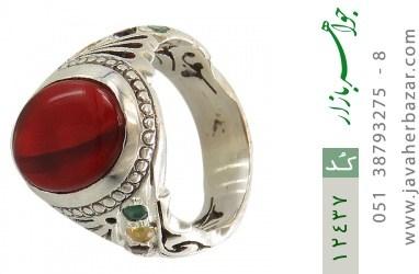 انگشتر زمرد و یاقوت و عقیق یمن رکاب دست ساز - کد 12437