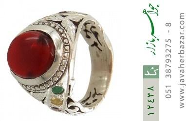 انگشتر زمرد و یاقوت و عقیق یمن رکاب دست ساز - کد 12438