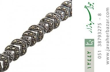 دستبند مارکازیت و نقره درشت طرح مجلسی و جذاب زنانه - کد 12442