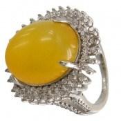 انگشتر عقیق زرد شرف الشمس طرح خورشید درشت زنانه