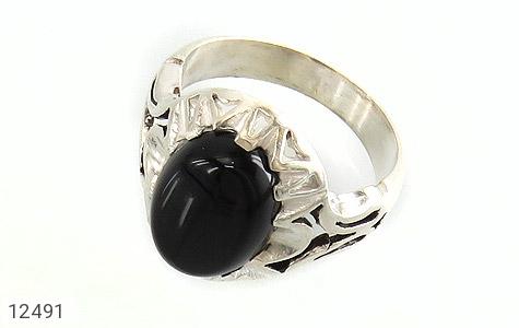 انگشتر عقیق سیاه دورچنگ طرح پاشا مردانه - عکس 1