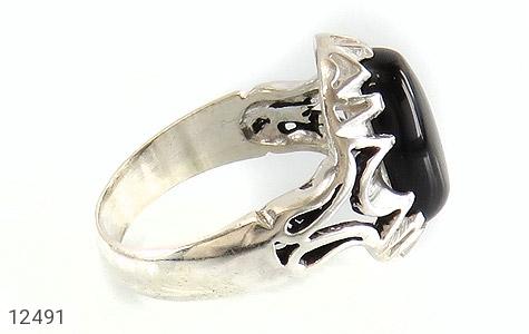 انگشتر عقیق سیاه دورچنگ طرح پاشا مردانه - عکس 3