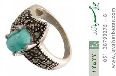 انگشتر مارکازیت و فیروزه نیشابور طرح گلرخ زنانه - کد 12527