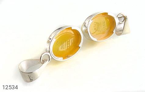 مدال عقیق حکاکی شرف الشمس فریم دست ساز - تصویر 2