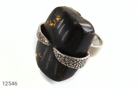 انگشتر کهربا رکاب دست ساز - عکس 1