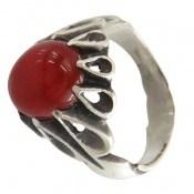 انگشتر عقیق قرمز رکاب اشکی مردانه