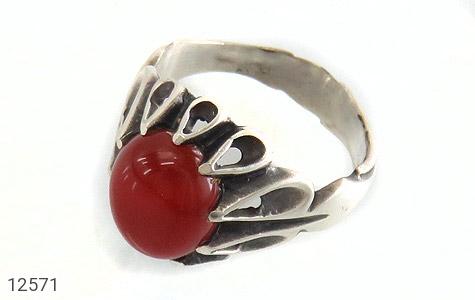 انگشتر عقیق قرمز رکاب اشکی مردانه - عکس 1