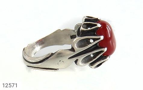 انگشتر عقیق قرمز رکاب اشکی مردانه - عکس 3