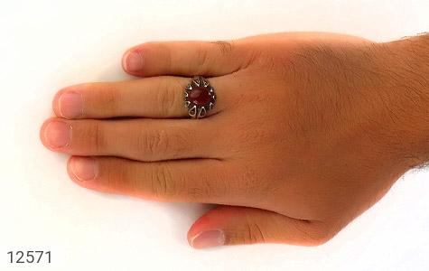 انگشتر عقیق قرمز رکاب اشکی مردانه - عکس 7