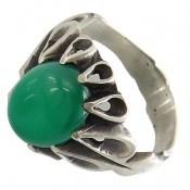انگشتر عقیق سبز رکاب اشکی مردانه