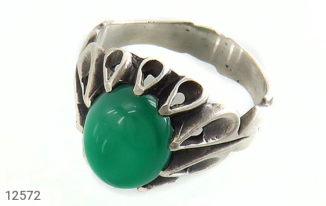 انگشتر عقیق سبز رکاب اشکی مردانه - عکس 1