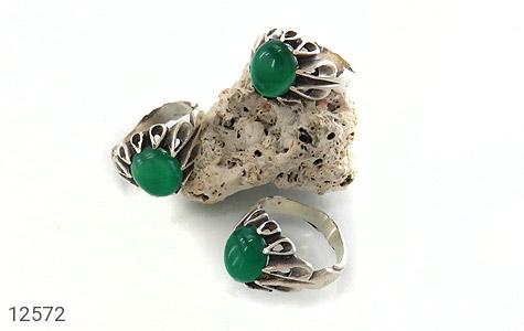 انگشتر عقیق سبز رکاب اشکی مردانه - عکس 5