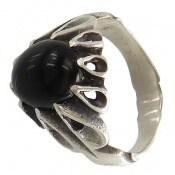انگشتر عقیق سیاه رکاب اشکی مردانه