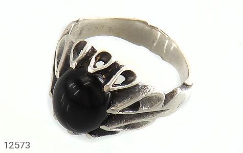 انگشتر عقیق سیاه رکاب اشکی مردانه - عکس 1