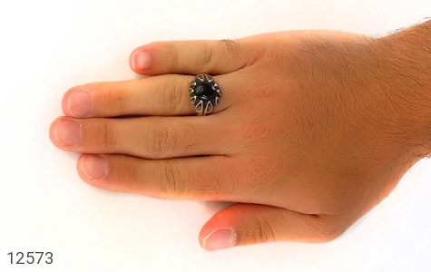 انگشتر عقیق سیاه رکاب اشکی مردانه - عکس 7