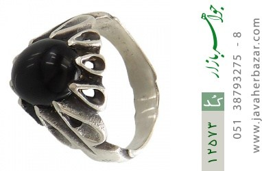 انگشتر عقیق سیاه رکاب اشکی مردانه - کد 12573