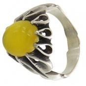 انگشتر عقیق زرد شرف الشمس رکاب اشکی مردانه