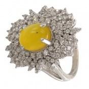 انگشتر عقیق زرد شرف الشمس درشت و مجلسی زنانه