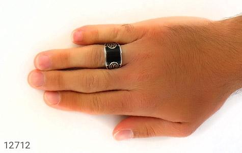 انگشتر عقیق سیاه طرح اسپرت ترک - عکس 7
