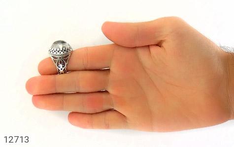 انگشتر دُر نجف درشت رکاب شبکه دورچنگ مردانه - تصویر 8