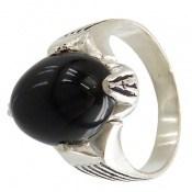 انگشتر عقیق سیاه بیضی چهارچنگ مردانه