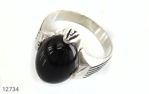 انگشتر عقیق سیاه بیضی چهارچنگ مردانه - عکس 1