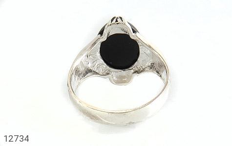 انگشتر عقیق سیاه بیضی چهارچنگ مردانه - تصویر 4