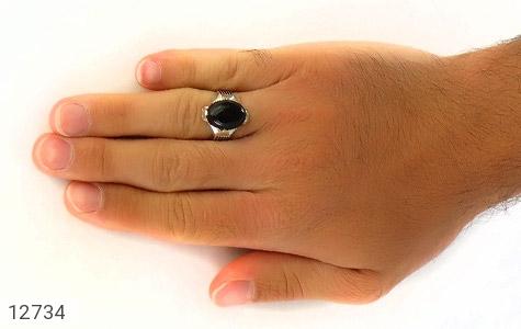 انگشتر عقیق سیاه بیضی چهارچنگ مردانه - عکس 7