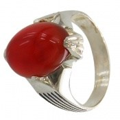 انگشتر عقیق قرمز بیضی چهارچنگ مردانه