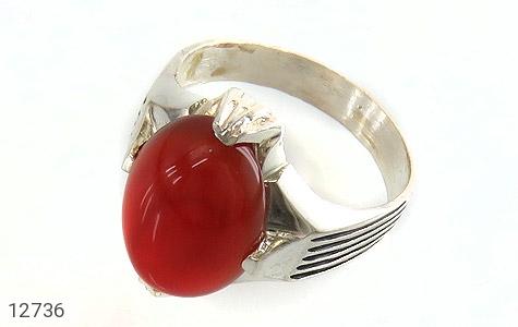 انگشتر عقیق قرمز بیضی چهارچنگ مردانه - عکس 1