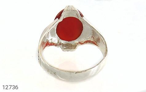 انگشتر عقیق قرمز بیضی چهارچنگ مردانه - تصویر 4