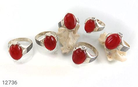 انگشتر عقیق قرمز بیضی چهارچنگ مردانه - عکس 5