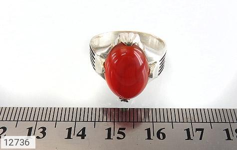 انگشتر عقیق قرمز بیضی چهارچنگ مردانه - تصویر 6